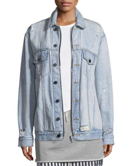 Daze Zip Button-Front Distressed Denim Jacket