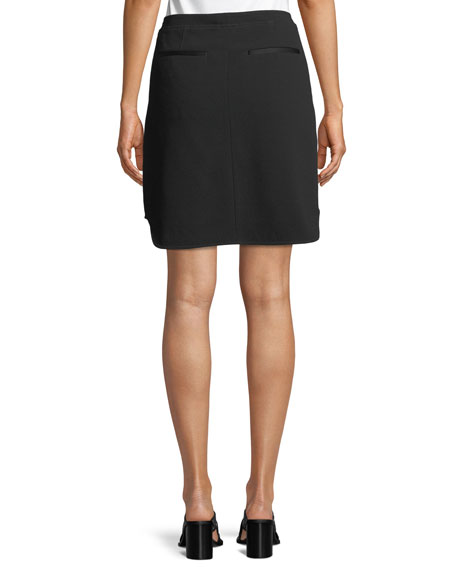 Maverick Zip-Front Crepe Skirt
