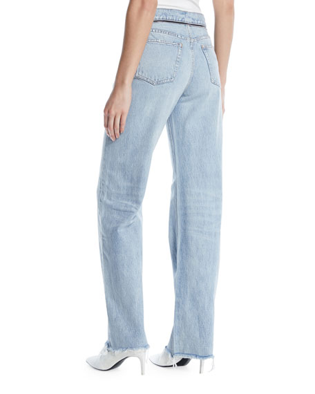 Stack Tie-Front Wide-Leg Jeans