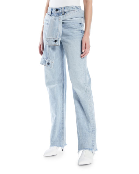 Stack Tie Tie-front Distressed High-rise Straight-leg Jeans - Light denim Alexander Wang PJMeh