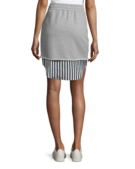 Terry Stripe Combo Pull-On Skirt