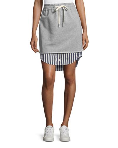 Terry Stripe Combo Pull-On Skirt