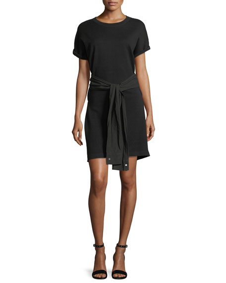 T by Alexander Wang Crewneck Short-Sleeve Shirtdress with