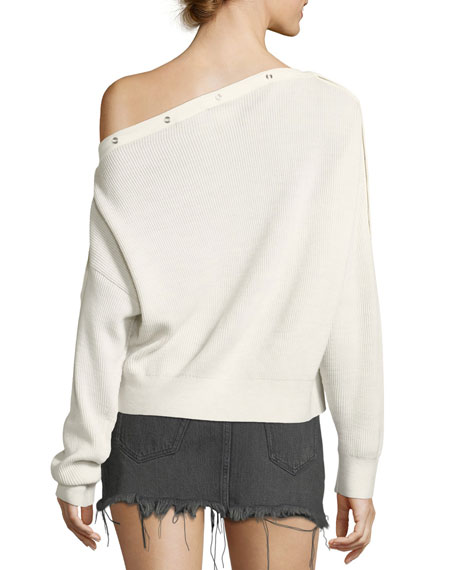 One-Shoulder Rib-Knit Pullover Sweater with Snap Details