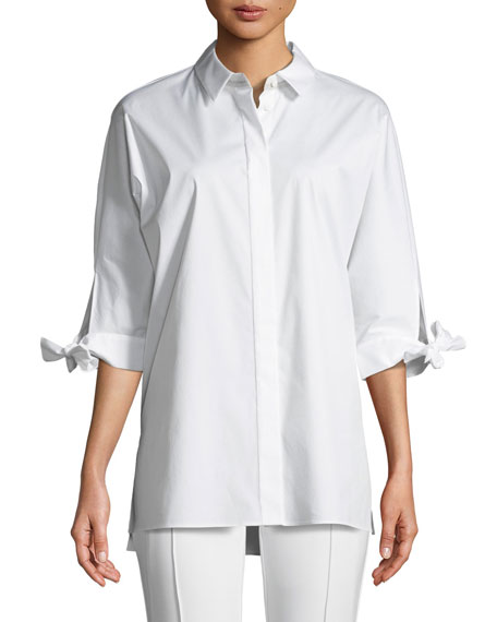 Saige Button-Down Tie-Cuffs Cotton Shirting Blouse