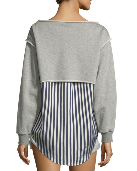 Boat-Neck Long-Sleeve Terry Stripe Combo Pullover
