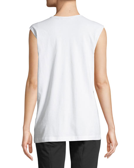 Raw-Edge Crewneck Sleeveless Cotton Muscle Tank