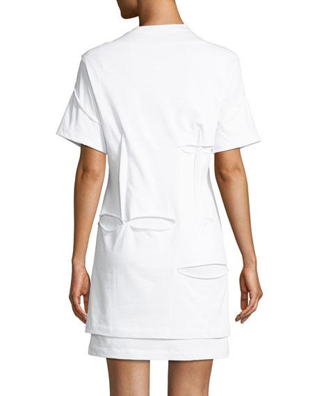 Holey Distressed Crewneck Short-Sleeve Mini Dress