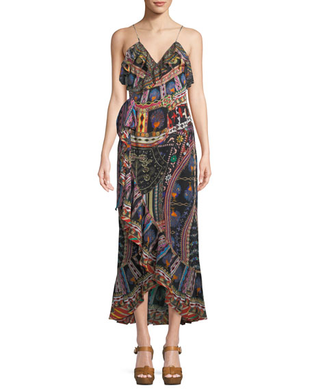 Camilla V-Neck Sleeveless Long Printed Wrap Dress w/
