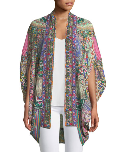 Open-Front Cardi Cape Coverup, One Size