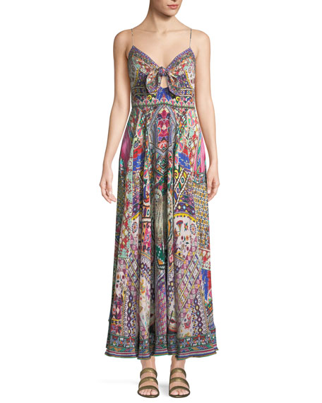 Camilla Sleeveless Tie-Front Printed Coverup Maxi Dress