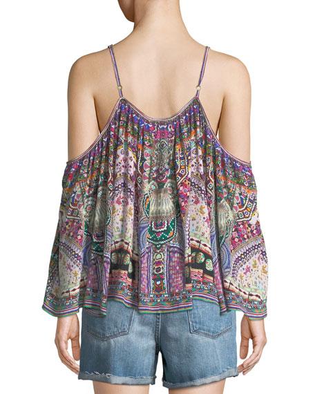 Long-Sleeve Cold-Shoulder Printed Silk Blouse