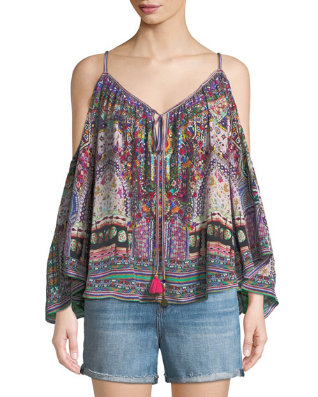Camilla Long-Sleeve Cold-Shoulder Printed Silk Blouse