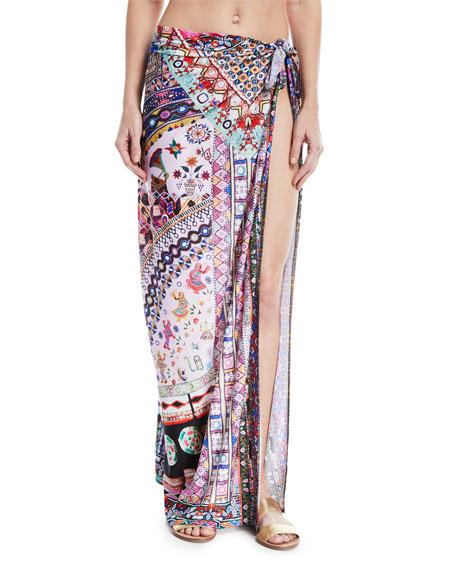 Long Tie-Waist Printed Sarong