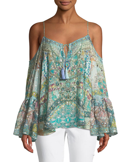Camilla Drop-Shoulder Mixed-Print Silk Blouse