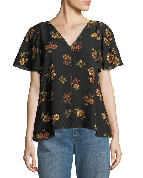 A.L.C. Clara V-Neck Floral-Print Silk Top and Matching