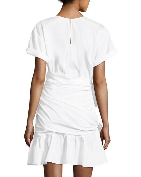 Cassian Crewneck Short-Sleeve Gathered Tie Dress