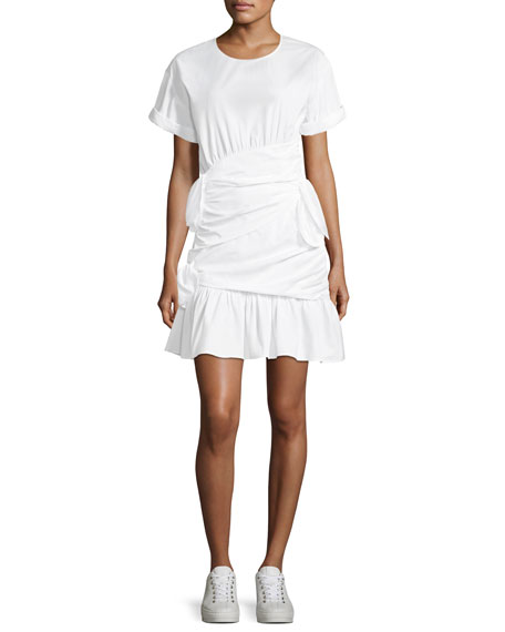 A.L.C. Cassian Crewneck Short-Sleeve Gathered Tie Dress