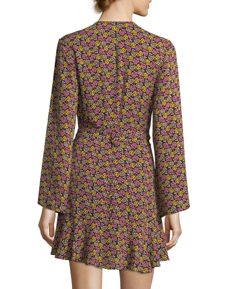 Whitney Bell-Sleeve Floral-Print Silk Wrap Dress