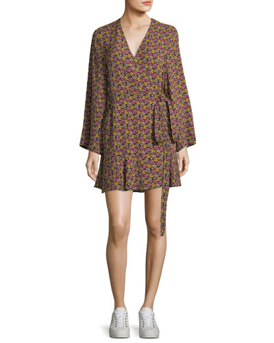 Whitney Bell-Sleeve Floral-Print Silk Wrap Dress