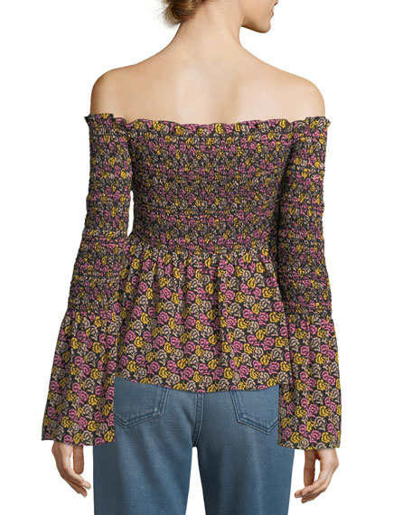 Agra Off-the-Shoulder Floral-Print Silk Top