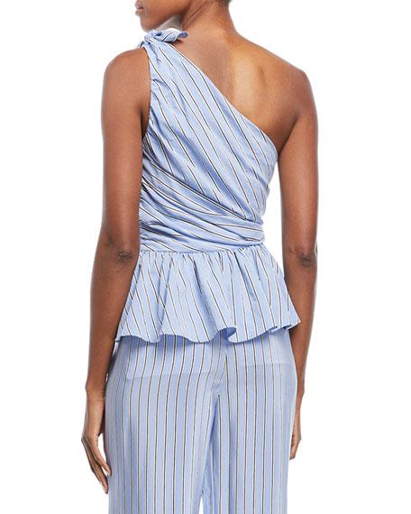 Soraya One-Shoulder Gathered Striped Top