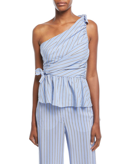 A.L.C. Soraya One-Shoulder Gathered Striped Top
