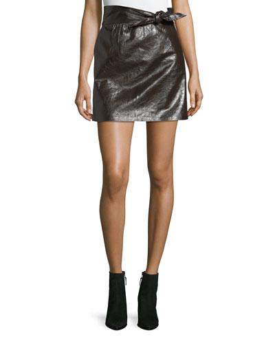 Tate Tie-Waist A-Line Leather Mini Skirt