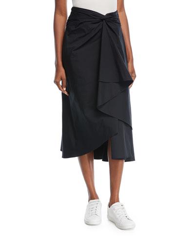 Diller Twist-Front A-Line Poplin Skirt
