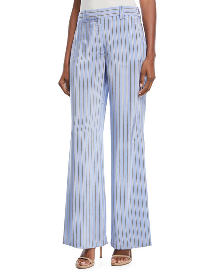 A.L.C. Miles Shadow-Striped Wide-Leg Pants