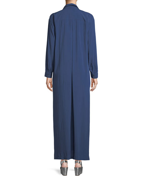 Faye Long-Sleeve Button-Front Maxi Dress