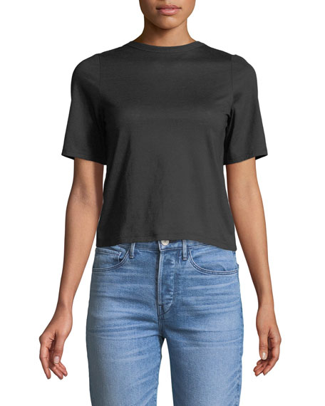Short-Sleeve Twist-Back Cotton Tee