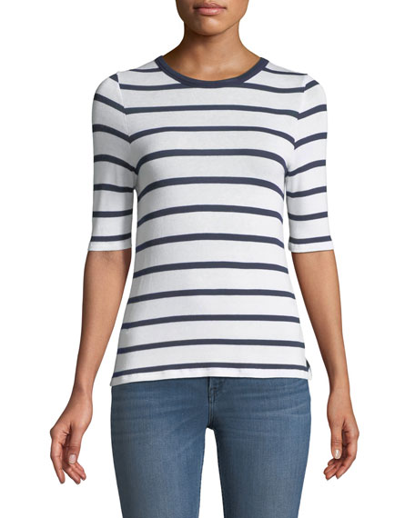 3x1 Crewneck Short-Sleeve Twist-Back Striped Tee