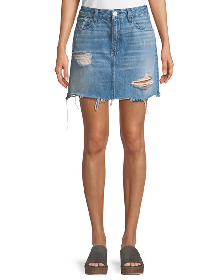 3x1 Celine A-Line Distressed Denim Skirt