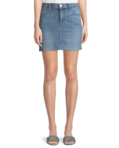 J Brand Bonny Mid-Rise A-Line Mini Denim Skirt