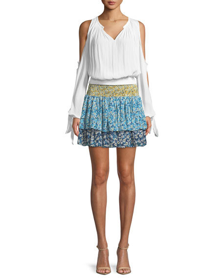 Anabelle Tiered Floral-Print Silk Skirt