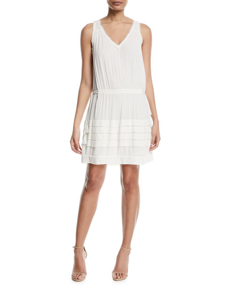 Melanie V-Neck Sleeveless Dress in Ivory