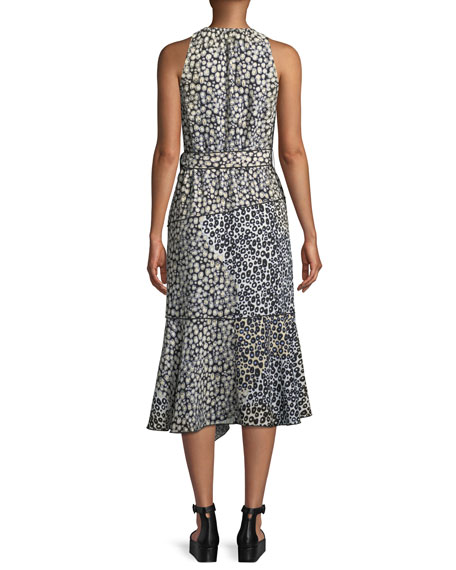 Sleeveless Belted Printed A-Line Dress