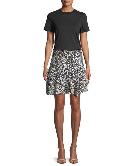 Mixed-Print Ruffled Mini Skirt