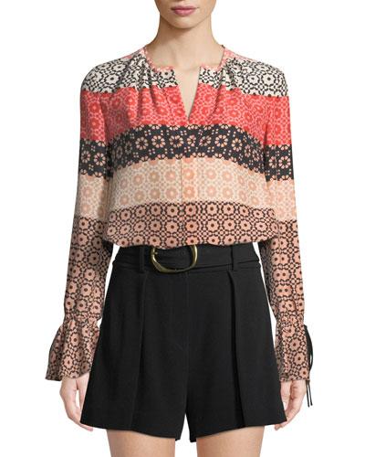 841b8dda2b88ea Bell-Sleeve Button-Down Printed Silk Blouse