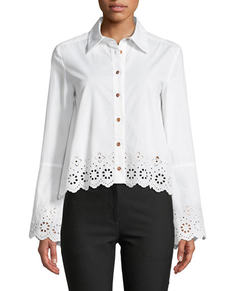 Derek Lam 10 Crosby Long-Sleeve Button-Down Shirt with