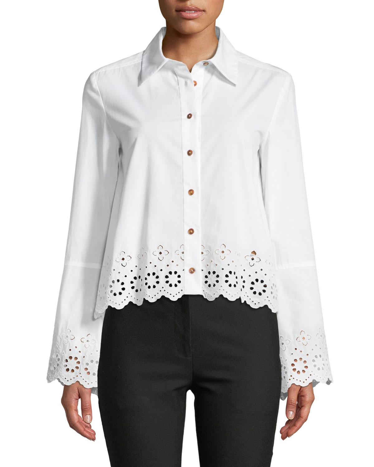 0a08c4d6 Derek Lam 10 Crosby Long-Sleeve Button-Down Shirt with Eyelet Embroidery