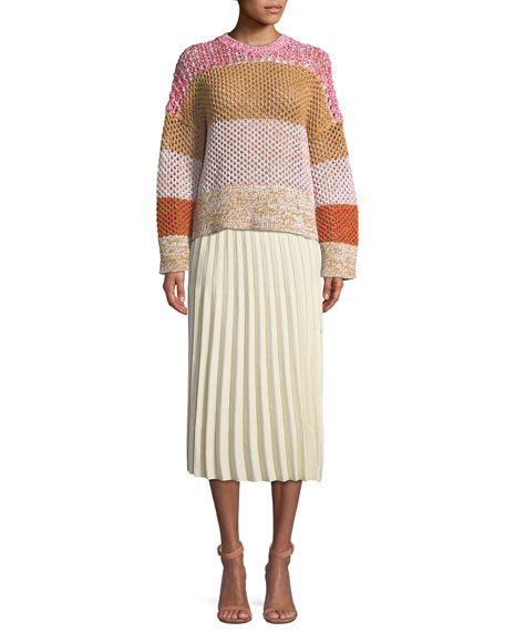 A-Line Pleated Striped Knit Midi Skirt