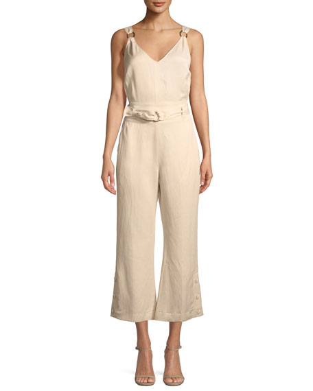 Derek Lam 10 Crosby Sleeveless Belted Flared-Leg Jumpsuit