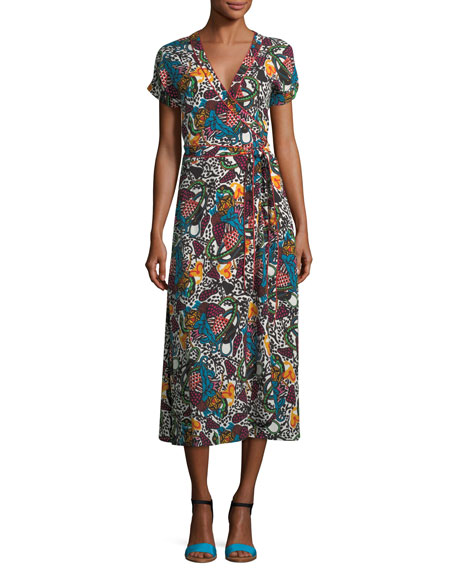 Serena V-Neck Printed Wrap Dress