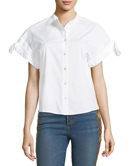 Sanaa Button-Front Cotton Shirt