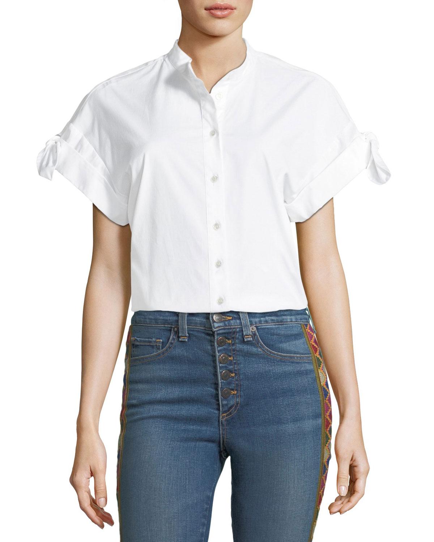f6421b12ebcc9 White Collared Blouse Short Sleeve