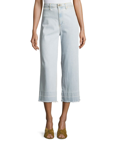 Ali High-Waist Gaucho Jeans with Released Hem