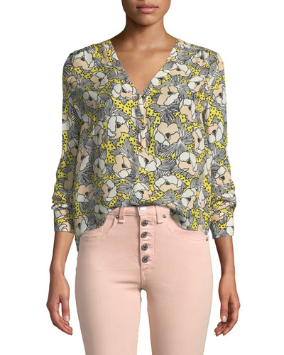 Briley Printed Button-Down Long-Sleeve Blouse