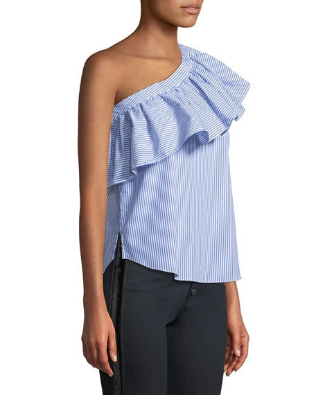 Cruz Striped One-Shoulder Ruffle Top